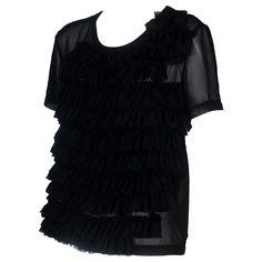 Comme Des Garçons Chiffon 2014 Blouse / Top, Black Size Medium