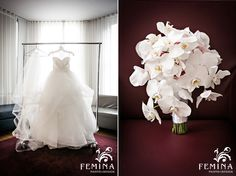 Fulle Tulle Wedding Dress. White Orchid Bouquet. NYC Bryant Park Grill Wedding Photography. (www.feminaphoto.com)