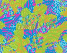 Repeating pattern with Eighties style colors and animalprints designed by Sonja Sporrer-Hornfeck, available for download on patterndesigns.com