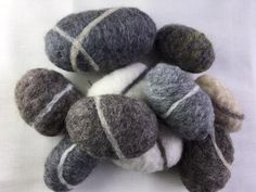 Big Pebble Project Pack - Dyed & Natural Wool Batts plus Basic Core Wool - Needle Felting Kits, Needle Felted Animals, Felt Animals, Wool Felt, Core, Big, Natural, Nature, Au Natural