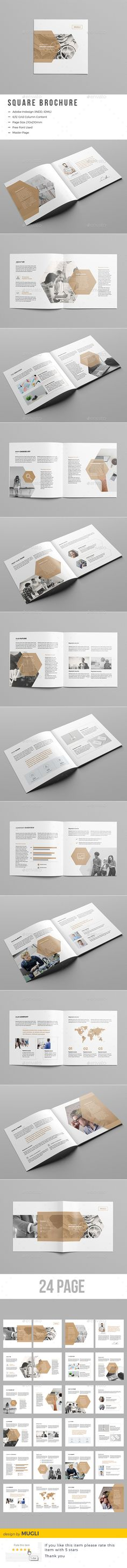 Corporate Square Brochure Template 	InDesign INDD