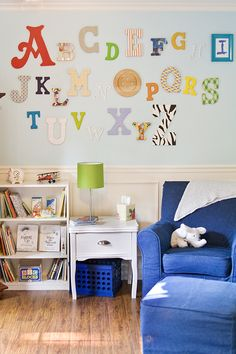 nursery walls. have everyone at a baby shower design a letter?