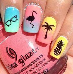 Pretty nail art designs for summer 18 unhas de flamingo, uñas para pl Pretty Nail Art, Cute Nail Art, Cute Acrylic Nails, Cute Nails, Colorful Nail Designs, Cute Nail Designs, Acrylic Nail Designs, Colorful Nails, Simple Designs