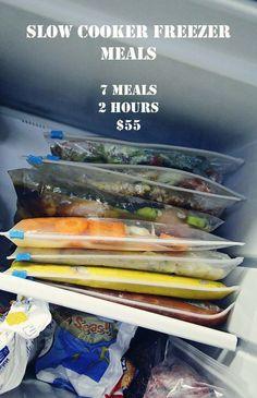 7 slow cooker freezer meals - including chicken cacciatore, maple glazed chicken, lime chicken w/corn and black beans, teriyaki chicken, etc