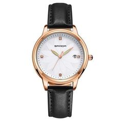 SANDA Elegant Quartz Watch Women Flower Modeling Ladies Watches Leather Strap Calendar Fashion Woman Clock relojes mujer 2018 From Touchy Style Outfit Accessories ( Pink ) Cheap Watches For Men, Big Watches, Fossil Watches, Luxury Watches For Men, Sport Watches, Ladies Watches, Black Watches, Wrist Watches, Apple Watch Fashion