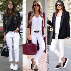 Creating a style-statement outfit which provides you with an edgy, contemporary look as well as comfortable and practical themes is an ongoing challenge. Casual Winter Outfits, Classy Outfits, Chic Outfits, Spring Outfits, Fashion Outfits, Womens Fashion, Skirt Outfits, White Pants Outfit, White Jeans Winter Outfit