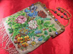 Antique Victorian Micro Beaded Purse Handbag Fringes Lion Bronze Frame w Stones   eBay