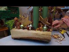Blomsterværkstedet laver juledekorationer lavet på træstykker - YouTube