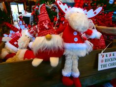Santa and Reindeer teddy's sitting together