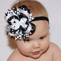 Black and White Affair Polka Dot Stacked Boutique Hair Bow and Headband