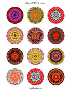 Digital collage sheet 2-inch circles for jewelry, art, craft projects
