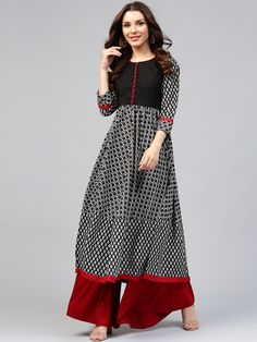 5 Likes  Libas Black & White Printed Anarkali Kurta