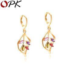 Bishilin Gold plate Earring for women Stud Earrings Long Earring Retro Single Wheeler Bicycle CZ Style A
