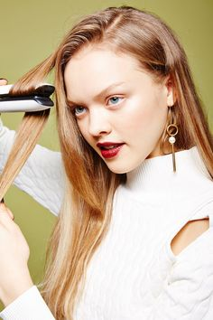This Is Going To Change The Way You Use Your Flat Iron #refinery29  http://www.refinery29.com/flat-iron-hairstyle-ideas#slide-8  After misting the hair with thickening spray (Yepez loves R+Co Dallas Thickening Spray) and rough drying, it's time to start the waves. To begin, take a two-inch section of hair and clamp the flat iron down horizontally a few inches from the root. Twist your wrist to rotate the iron forward. (Th...
