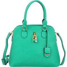 Dasein Round Padlock Zip Satchel With Shoulder Strap ($35) ❤ liked on Polyvore featuring bags, handbags, green, satchel purses, round handbags, vegan leather purses, round purse and green handbags