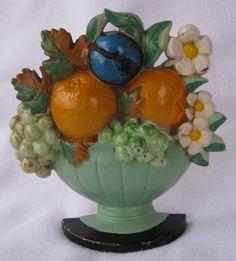 Vintage Hubley Flower Fruit Basket Floral Cast Iron Doorstop Door Stop 456❤❤❤