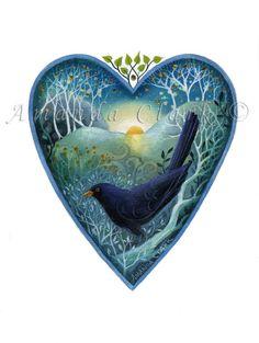 Heart art print. 'The First Song'  By Amanda Clark.