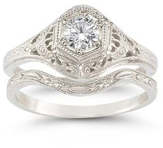 ApplesofGold.com - Antique-Style 1/3 Carat Diamond Bridal Set in Sterling Silver Jewelry $1,075.00