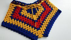 Shorts Tejidos A Crochet, Crochet Bikini Pattern, Crochet Patterns, Crochet Stitches, Swimsuit Pattern, Crochet For Kids, Crochet Baby, Crochet Top, Crochet Fringe