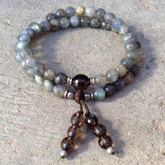 Serendipity and positivity, Labradorite and smoky quartz 54 bead wrap bracelet! --- I have both, making this tomorrow!!!