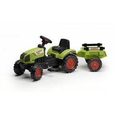 tracteur chantier falk tracteur pdales vert avec remorque claas