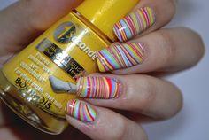 I'm might be unpretty but at least I'm well polished   A nail art blog. #nails #nail #nailpolish #nailart #bourjois #yellow #pink #blue #white #watermarble #stripes