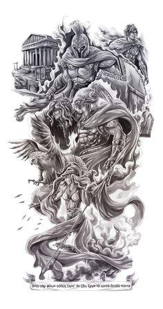 Zeus Tattoo, Poseidon Tattoo, Statue Tattoo, Lion Head Tattoos, God Tattoos, Viking Tattoos For Men, Tattoos For Guys, Arm Sleeve Tattoos, Tattoo Sleeve Designs