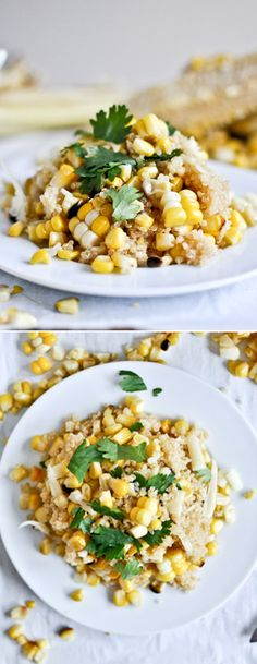 Grilled Corn and Cheddar Quinoa I howsweeteats.com