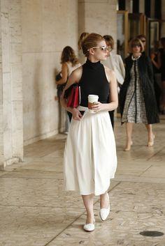 Midi skirt and flats