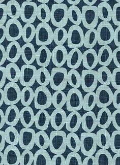 Solar Denim Zelle World Linen Fabric. Lovely freehand geometric circle pattern in denim blue and light blue.