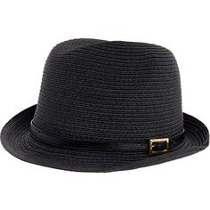 Melissa Odabash Diana Black Trilby Hat (180 BRL) ❤ liked on Polyvore featuring accessories, hats, black, straw hat, melissa odabash, straw trilby hat, straw trilby and trilby hat