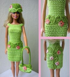 Barbie dress Flower fairy- like flower belt idea, started this dress for Tyler in same shade of greenfree crochet doll costumes for barbie dollsNo Pattern Super Cool Dress Flower FairyThis Pin was discovered by ВолIf you happen to love dolls as Crochet Doll Dress, Crochet Barbie Clothes, Knitted Dolls, Crochet Dresses, Cute Crochet, Crochet Baby, Easy Crochet, Barbie Clothes Patterns, Barbie Dress