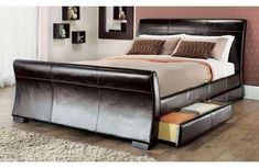 4 Drawers Leather Storage Sleigh Bed Double Or King Size Beds + Memory Mattress Leather Sleigh Bed, Leather Bed Frame, Leather Headboard, Sleigh Bed Frame, Sleigh Beds, King Size Storage Bed, Bed Storage, Extra Storage, Storage Drawers