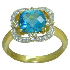Blue Topaz Ring with 0.23 cttw. Diamonds https://www.goldinart.com/shop/rings/colored-gemstone-rings/blue-topaz-ring-with-0-23-cttw-diamonds