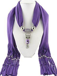 Jemis 6 Colors Cute Fox Pendant Scarf Women Retro Fashion Scarfs Fringed Necklace Scarves Jewelry (Deep Purple) Jemis http://www.amazon.com/dp/B00XAB7W8Y/ref=cm_sw_r_pi_dp_PXfjwb0G053AX