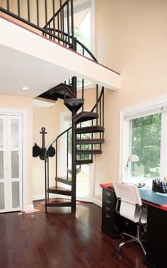 One Of Two Spiral Stairs To A Lake House S Bedroom Lofts Staircase Kits