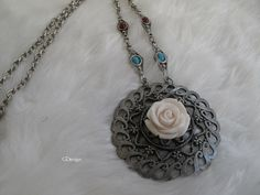 Resin Flower Cabochon Necklace Antique medallion by galladesign, $30.00