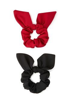 A set of two woven scrunchies featuring bow designs.