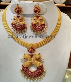 Jewellery Designs: Ruby Peacock Choker Chandbalis