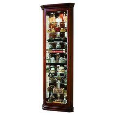 Hardwood Corner Curio Cabinet with Enclosed Base | Corner ...