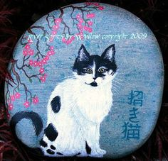 """""""Inu"""", my Japanese Shorthair. Hand painted river stone by Wyllow. River Spirits at Etsy-  https://www.etsy.com/shop/Wyllow?ref=si_shop"""