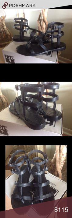 Frye Leather Gladiator Sandal Frye Black Leather Gladiator Sandal.  Brand new w/box.  No trades.  True to size. Frye Shoes Sandals