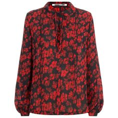 McQ Alexander McQueen Floral Tie Neck Blouse ($385) ❤ liked on Polyvore featuring tops, blouses, silk blouses, silk neckties, peter pan collar blouse, tie neck blouse and silk tie neck blouse