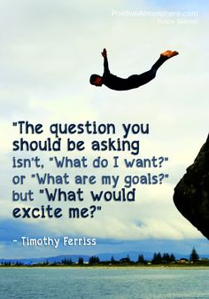 """The question you should be asking isn't 'What do I want?' or 'What are my goals?' but 'What would excite me?'"" ~ Tim Ferris   ~☆~"