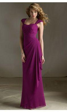 sku:zyh025; Silhouette:A-line; Hemline:Floor-length; Fabric:Chiffon; Back Details:Zipper; Neckline:Shoulder Straps; Waist:Natural; Colour:Fuchsia; Sleeve Length:Sleeveless;