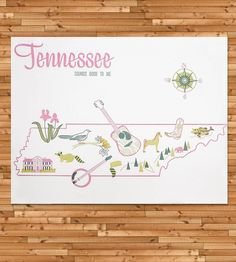 Vintage-Inspired Tennessee Map Print