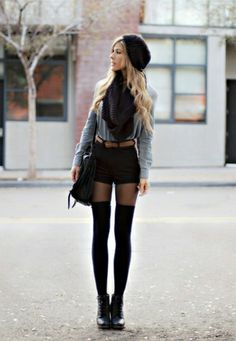 The knee high socks we talked about with the chunky heels and sweatshirt dress