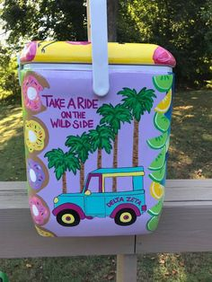 Take a ride on the wild side painted cooler Sorority Canvas, Sorority Paddles, Sorority Crafts, Sorority Recruitment, Sorority Life, Fraternity Coolers, Frat Coolers, Painted Ice Chest, Coolest Cooler