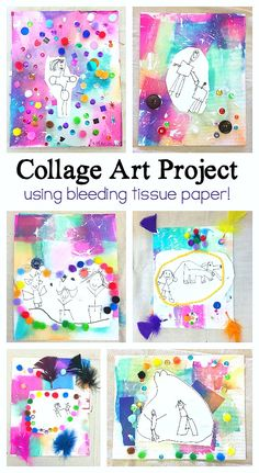 Process art project for kids: collage art for kids using bleeding tissue paper- personalize your collage with a special drawing and add craft materials like Preschool Art Projects, Art Activities For Kids, Projects For Kids, Art For Kids, Kids Crafts, Process Art Preschool, Art Children, Collage Kunst, Art Du Collage