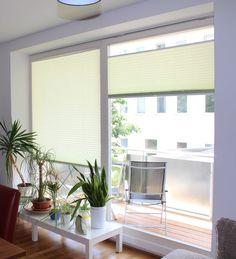 Plissees als Fensterdeko im Wohnzimmer / pleated blinds as window-decoration in a living room